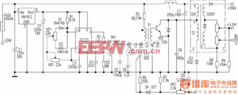24v伏供电的crt高压电源电路图